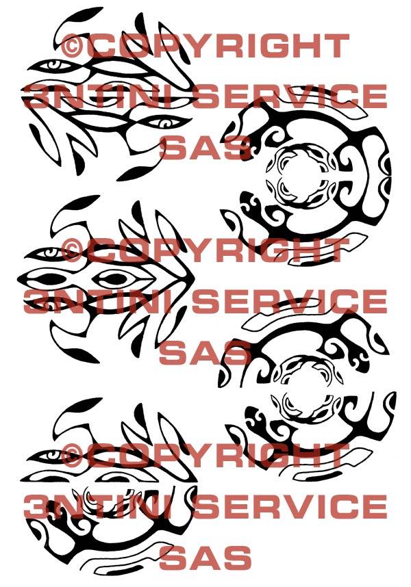 Pay for 5 x Tattoo flashes - Circular Maori Style Geckos