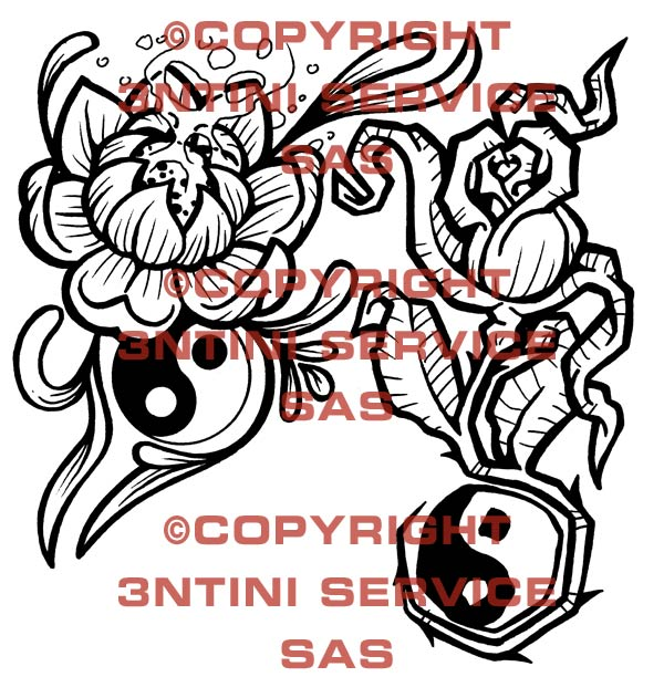 Pay for 2 x Tattoo flashes - Rose with tao/ peony with tao