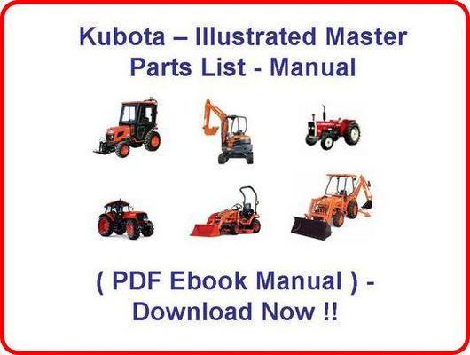Kubota B26 Tractor Loader Backhoe Parts Manual