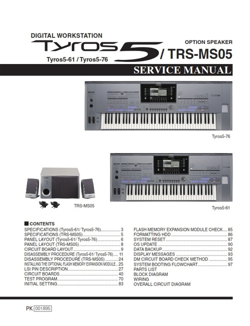 Pay for Yamaha Tyros5 TRS-MS05 Service manual