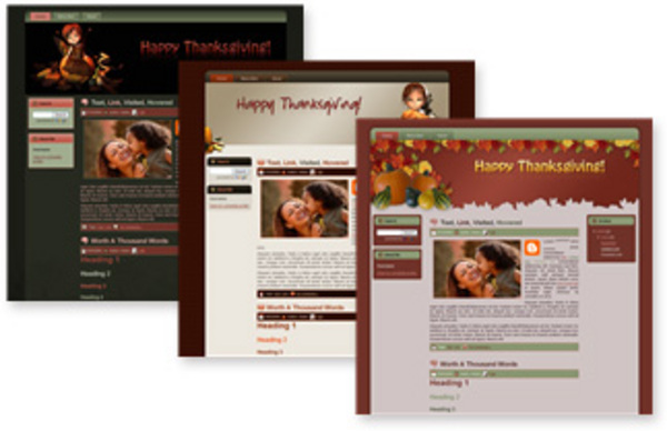 Pay for 3 Premium Thanksgiving Blogger Templates (MRR)