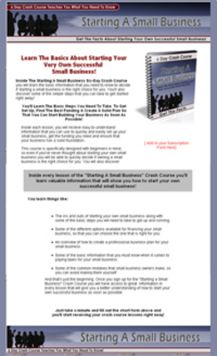 Pay for Starting A Small Business Crash Course - Plr!