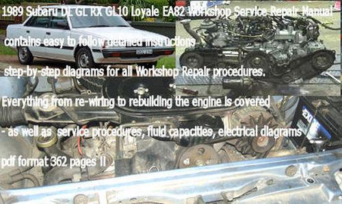 subaru leone loyale ea82 service repair manual download