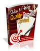 Thumbnail How To Write Quality Targeted Content With MRR