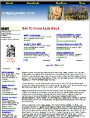Pay for Lady Gaga Website Templates with PLR