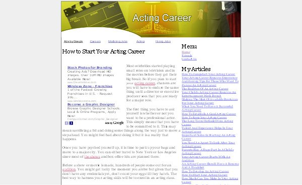 Pay for Acting Career Adsense Content Website