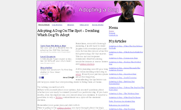 Pay for Adopting A Dog Adsense Content Website