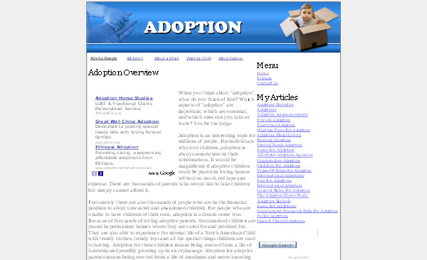 Pay for Adoption Adsense Content Website