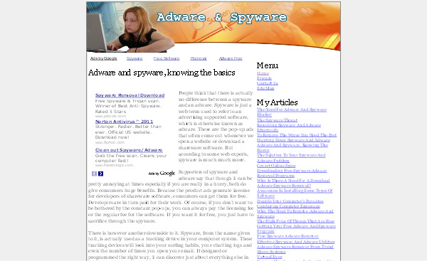 Pay for Adware - Spyware Adsense Content Website