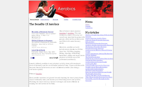 Pay for Aerobics Adsense Content Website