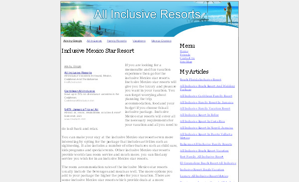 Pay for All Inclusive Resorts Adsense Content Website