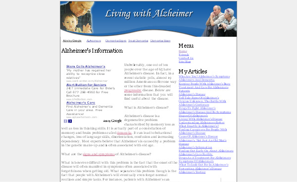 Pay for Alzheimers Adsense Content Website