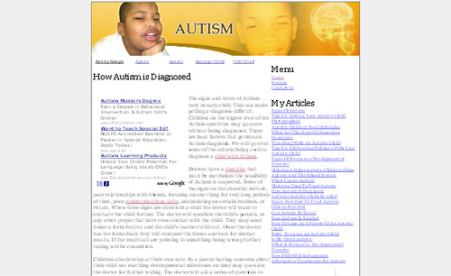Pay for Autism Adsense Affiliate Content Website
