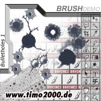 Pay for Tymoes Bulletholes 1 Photoshop Brush - Donwload Addons, Shapes Brushes for adobe photoshop 6.0, 7.0, cs and cs2 not for free