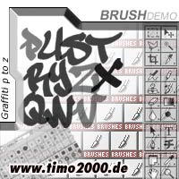 Pay for Tymoes Graffiti P-Z Photoshop Brush - Donwload Addons, Shapes Brushes for adobe photoshop 6.0, 7.0, cs and cs2 not for free