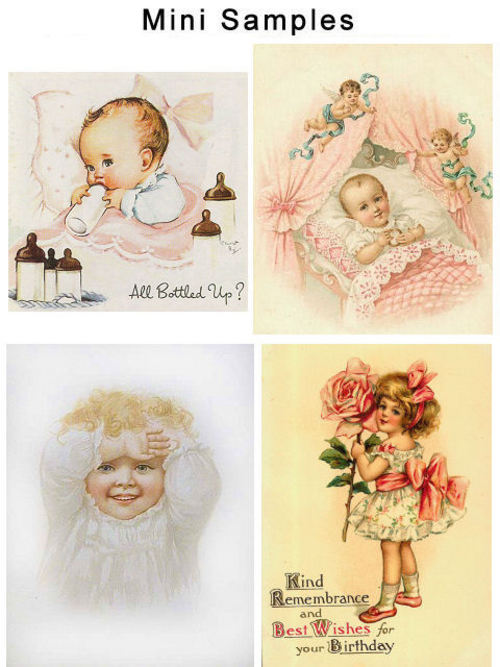 Pay for Vintage Birthday & Baby Greeting Card Images 100