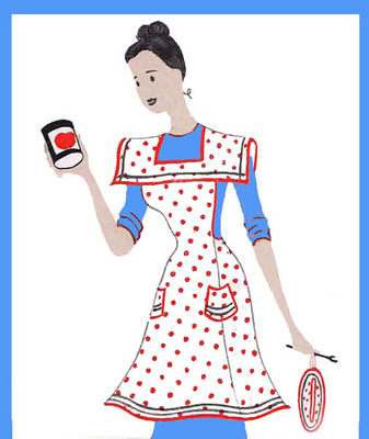 Pay for Polka Dot Apron Pattern With A Square Collar / Vintage 1940s