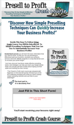 Pay for Presell to Profit Autoresponder Messages PLR eCourse