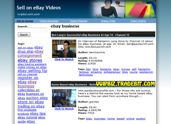 Pay for Sell on eBay Videos Site Multiple Clickbank & AdSense Income