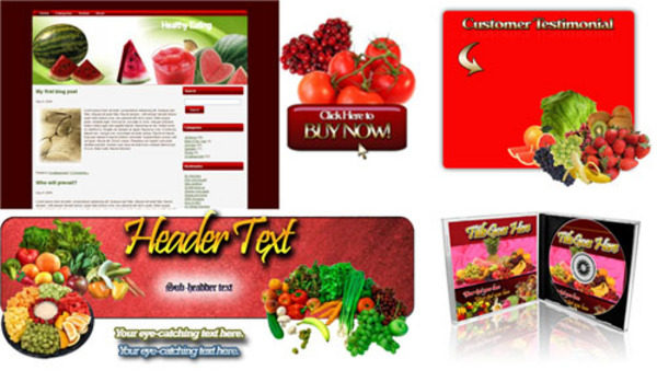 Pay for Niche Healthy Eating Site Templates Pack - Unrestricted PLR