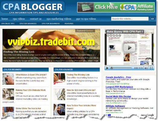 Pay for Cost Per Action - CPA Niche Wordpress Blogs with Adsense and Clickbank  + Review Sites