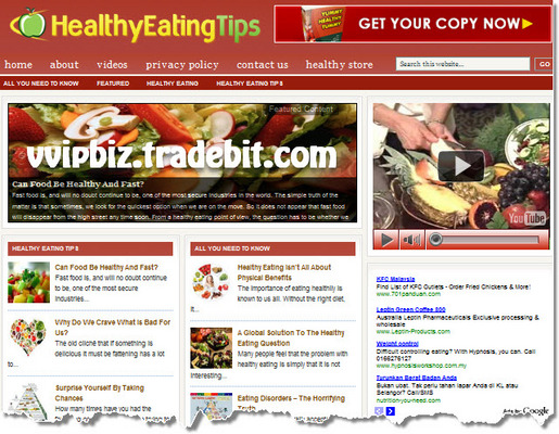 Pay for Healthy Eating Wordpress Blogs + Review Sites (3 Income Streams - Adsense, Amazon, Clickbank)
