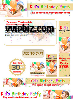 Pay for Kids Birthday Party Minisite Graphics Plr Pack