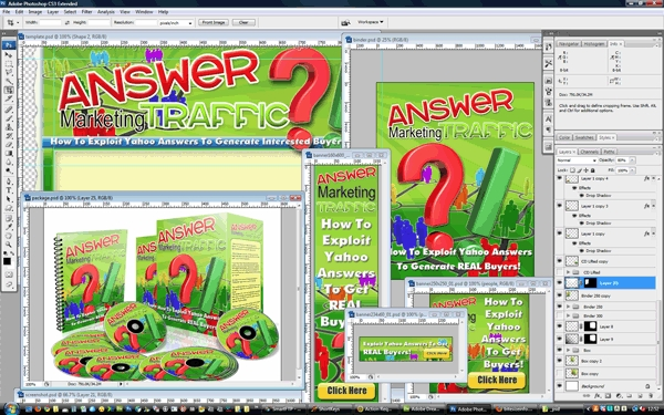 Pay for Answer Marketing Traffic Minisite Template PSD graphics