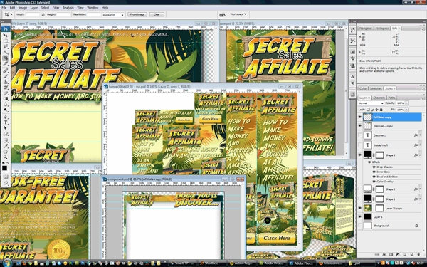 Pay for Secret Sales Affiliate Minisite Template PSD graphics