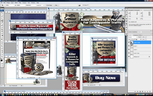 Pay for Traffic Armour Keywords Minisite Template PSD graphics