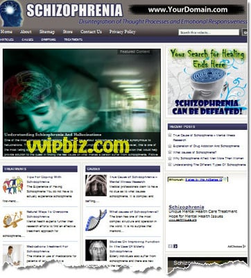 Pay for Schizophrenia Website PLR - Mental Health Disorders Blog