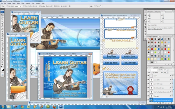 Pay for Learn Guitar Overnight Niche Website Template - PSD Included