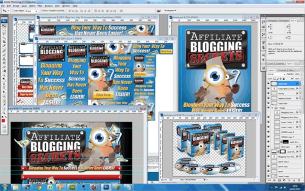 Pay for Affiliate Blogging Secrets Unflattened RAW PSD Graphics Set