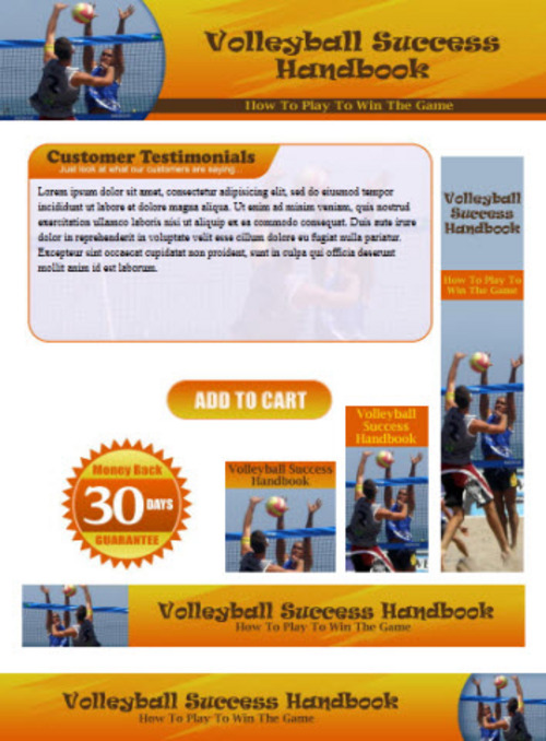 Pay for Volleyball Website Template PSD Graphics - Plr Pack