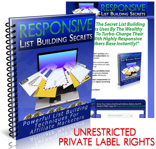 Pay for Responsive List Building Secrets Unrestricted PLR eBook