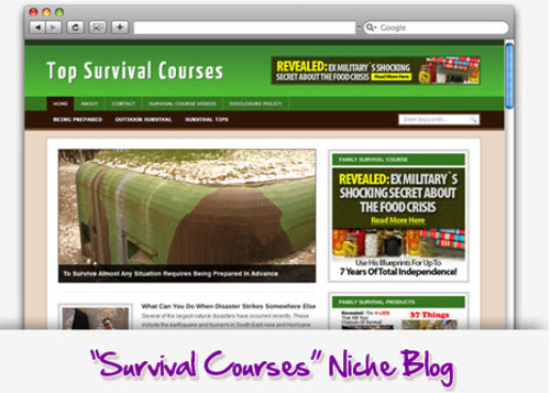 Pay for Survival Courses Niche Blog - Highly Optimized Blogs