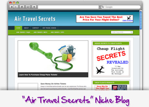 Pay for Air Travel Niche Blog - Highly Optimized Blogs