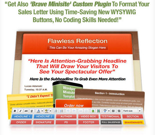 Pay for *New*  Flawless Reflection WordPress Minisite PLR + BONUS