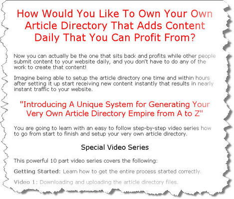Pay for Automated Profit System Video Series (Article Directory Empire) - MRR