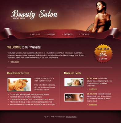 Pay for Women Beauty Salon - Flash Website Template with Source File