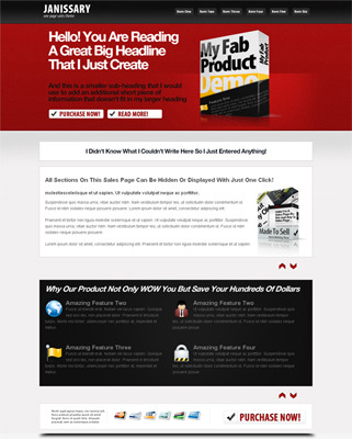 Pay for *** New & Updated Janissary One Page Sales Page Theme ***