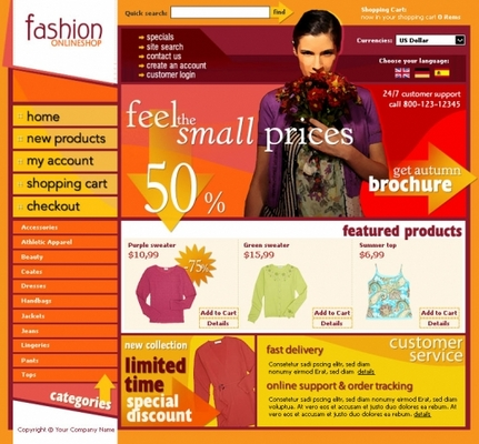 Pay for Fashion online shop templates