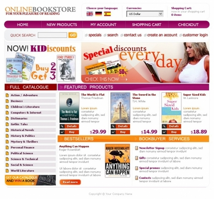 Pay for Online books store templates