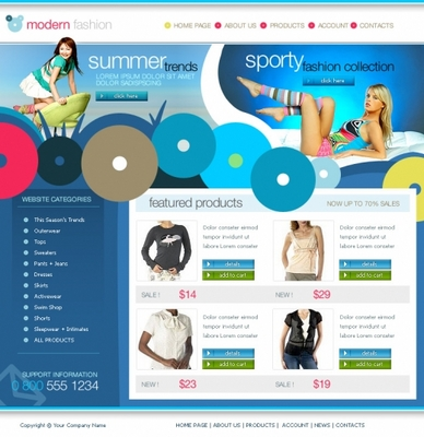 Pay for modern fashion store templates