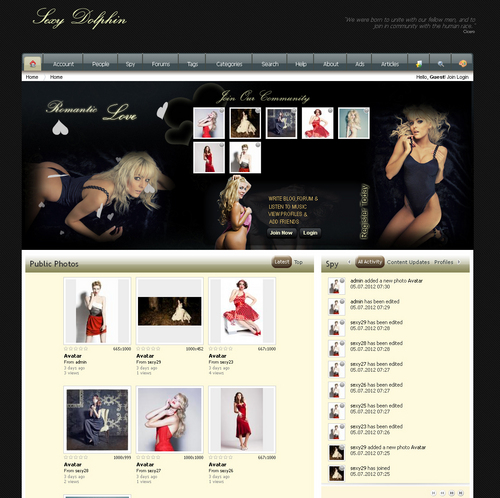 Pay for Sexyblonde Boonex Dolphin Templates v7.0 with flash
