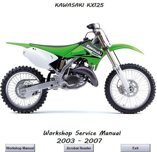 Free KAWASAKI KX125 WORKSHOP MANUAL 2003 - 2007 Download thumbnail