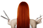 Thumbnail Sexy Redhead Girl With Scissors - Stock Photo